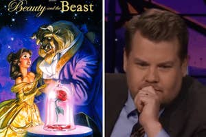 Beauty and the Beast poster and a reaction image of James Corden thinking