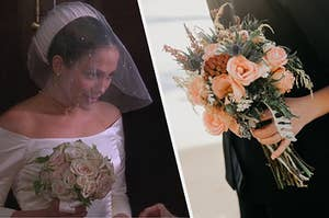 Jennifer Lopez in the wedding planner about to get married on the left and a bouquet of flowers on the right