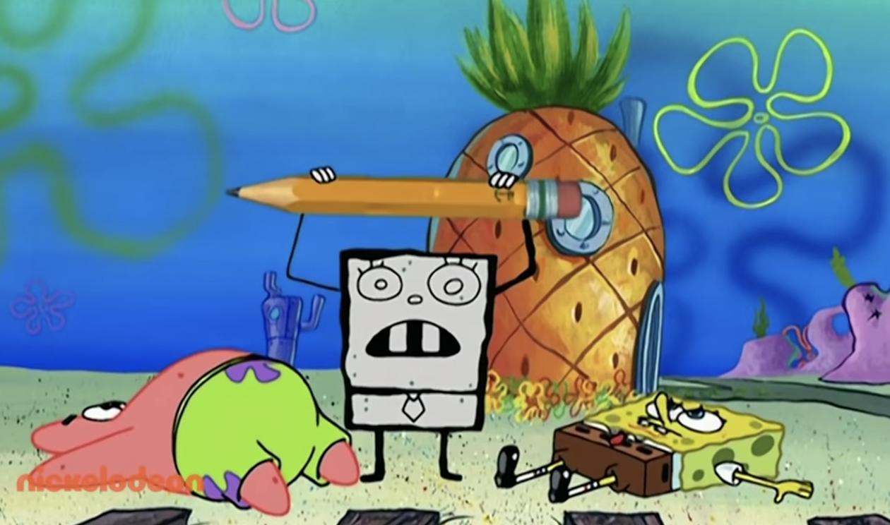 DoodleBob holding a pencil up next to a fallen SpongeBob and Patrick