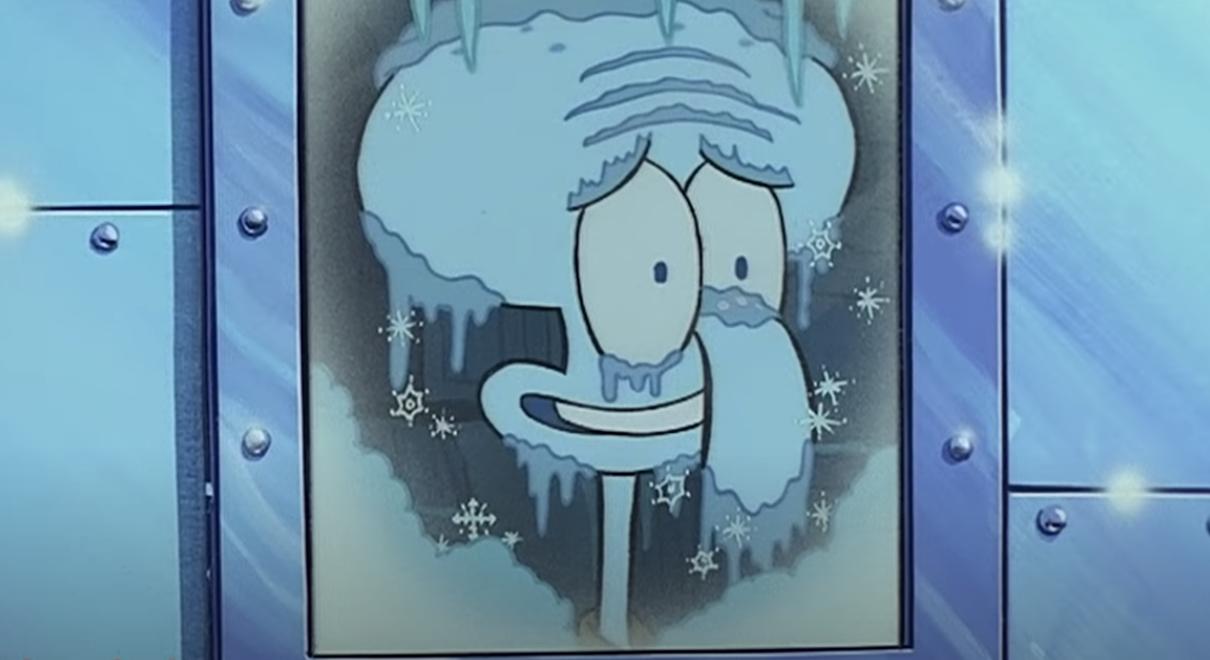 Squidward frozen to death in the freezer window