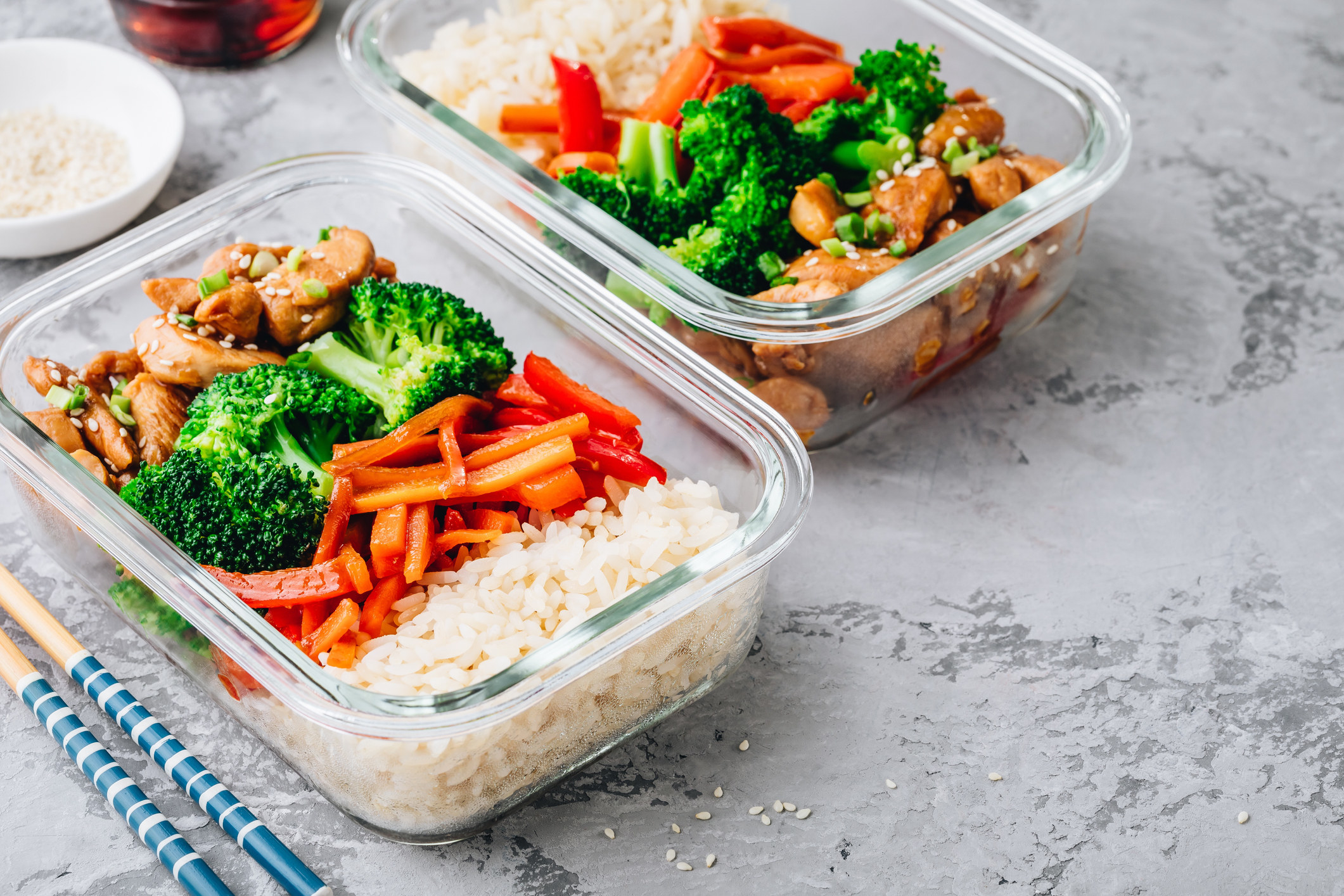 Chicken teriyaki meal prep lunch box containers with broccoli, rice and carrots