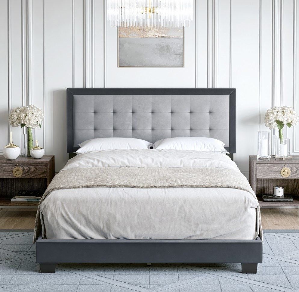 Gray velvet bed frame with upholstered headboard