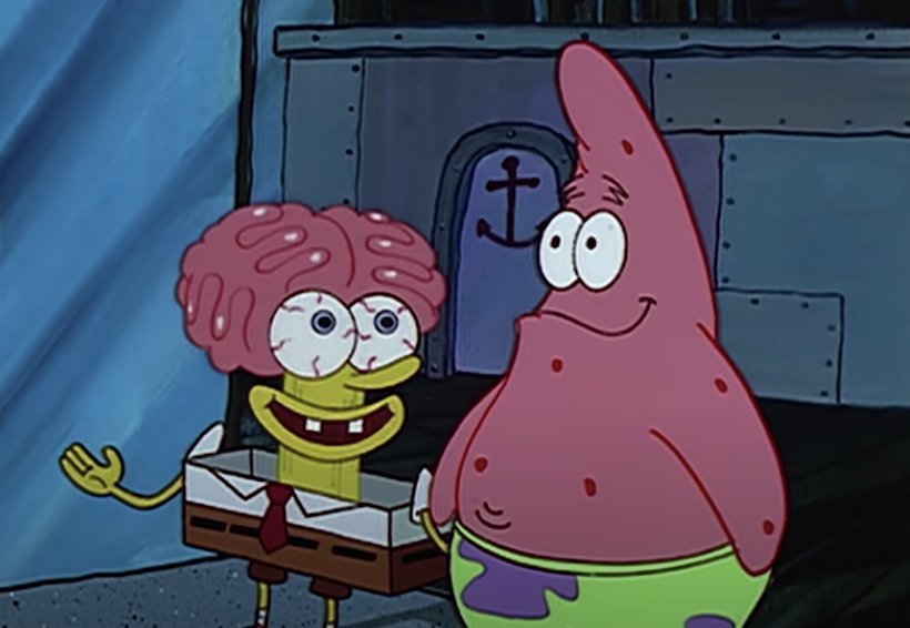 SpongeBob next to Patrick with his brain exposed and skin shaved down to a column below it