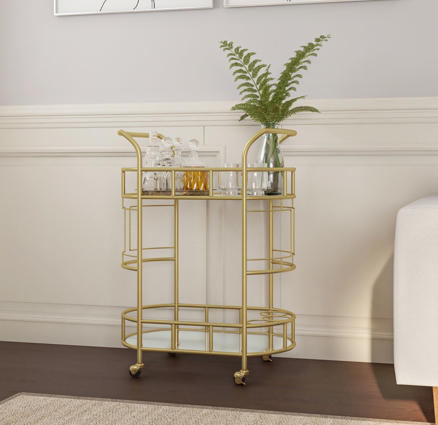 gold two tier bar cat with glassware and alcohol on top