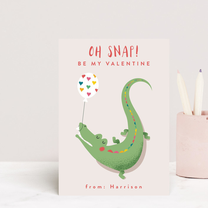card with crocodile holding balloon that says oh snap be my valentine