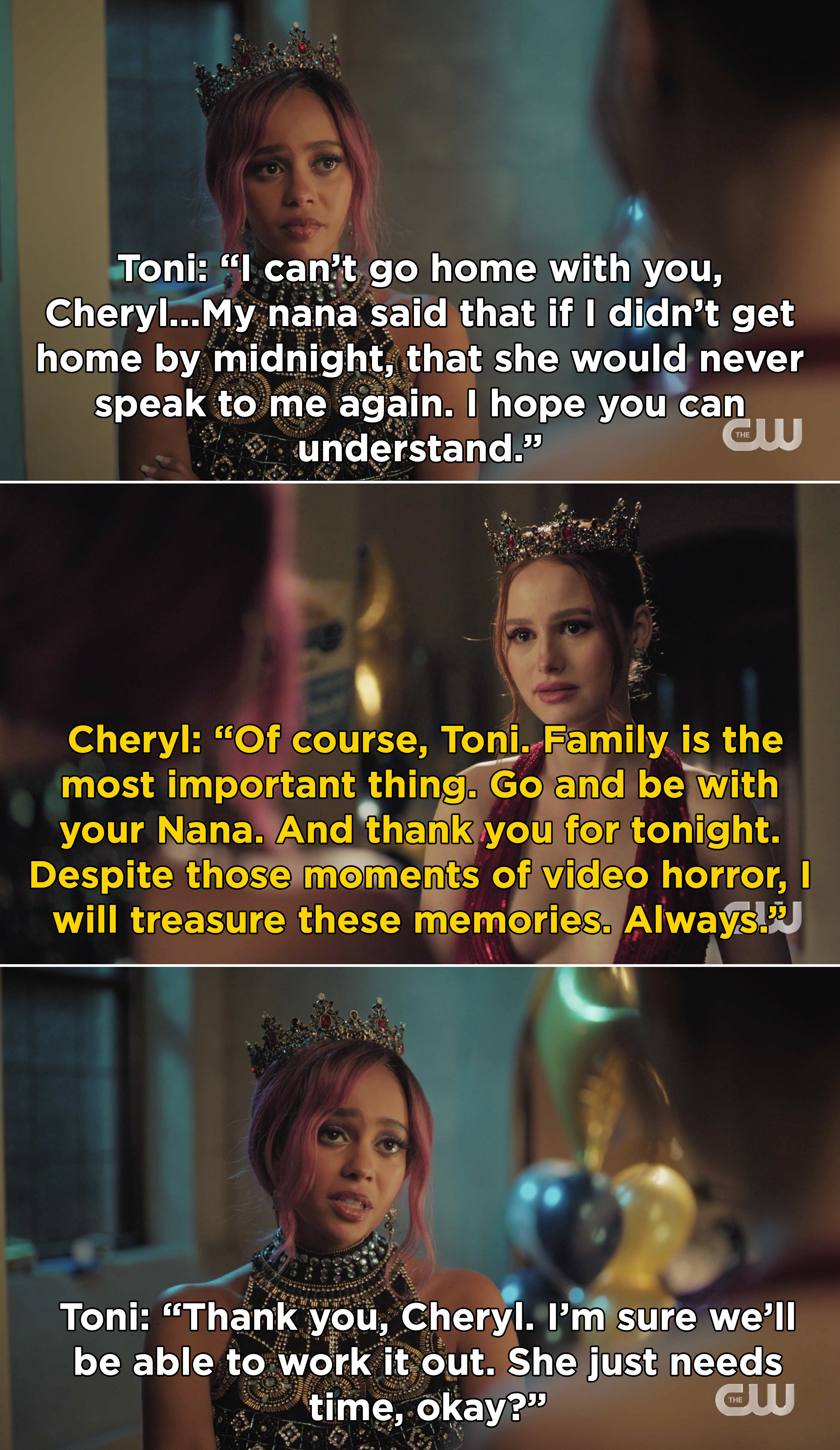 """Cheryl telling Toni that family is """"the most important thing"""" and she should go be with her Nana, but Cheryl will always """"treasure these memories"""""""