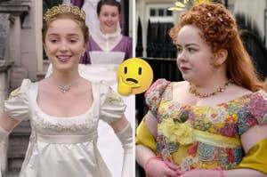 side by side images of Daphne and Penelope from Bridgerton with the thinking face emoji