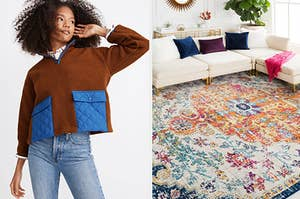 On the left, a model in a fleece pullover. On the right, a colorful rug