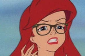 Ariel from Little Mermaid with thick rimmed glasses on