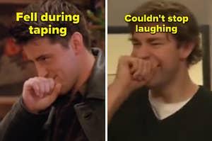 "Matt Leblanc as Joey Tribbiani in the show ""Friends"" and John Kransinski as Jim Halpert in the show ""The Office."""