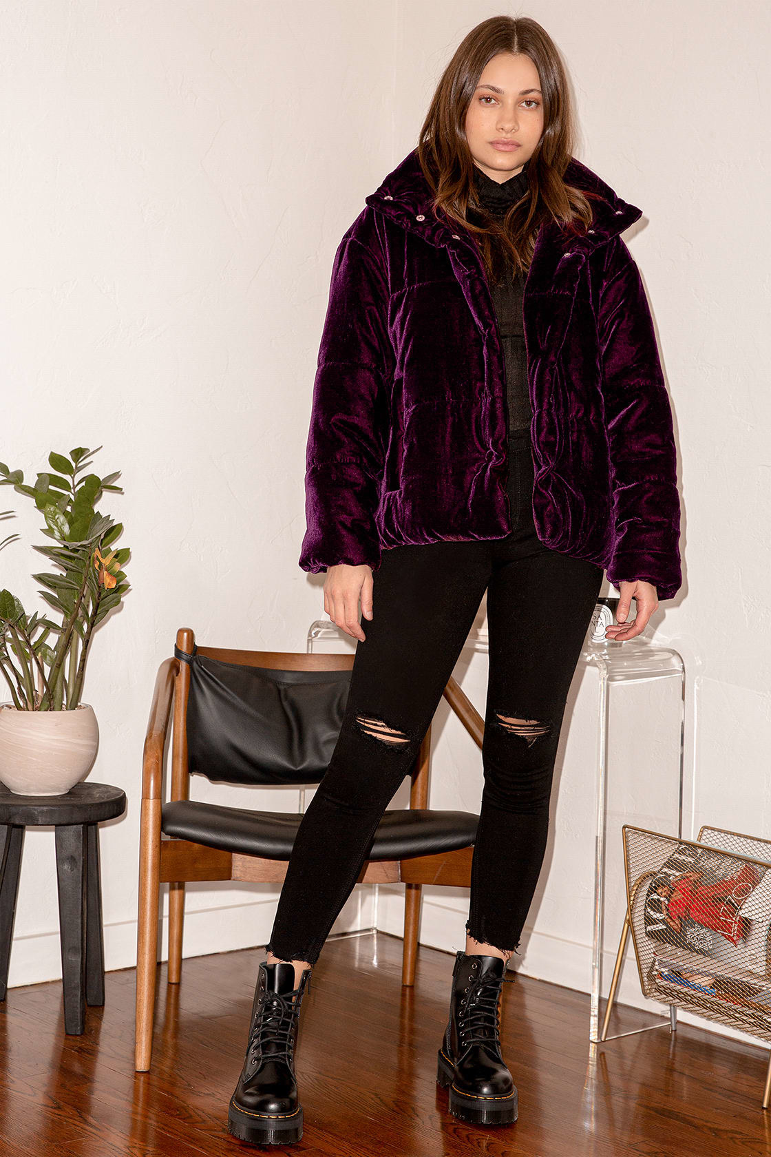 model wearing the purple velvet cropped puffer