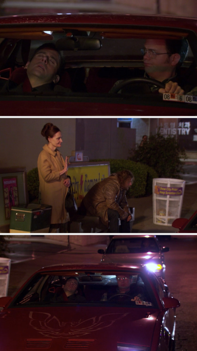 Dwight stops at a stoplight next to his babysitter/date standing at a bus stop, and he doesn't pick her up