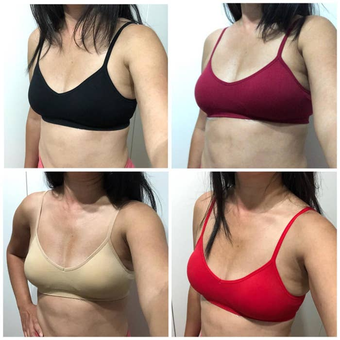 Four photos with reviewer wearing a padded black, nude, red, and berry bralette in a photo grid
