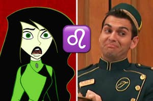 Shego from kim possible on the left and esteban from the suite life on the right with a leo emoji in between them