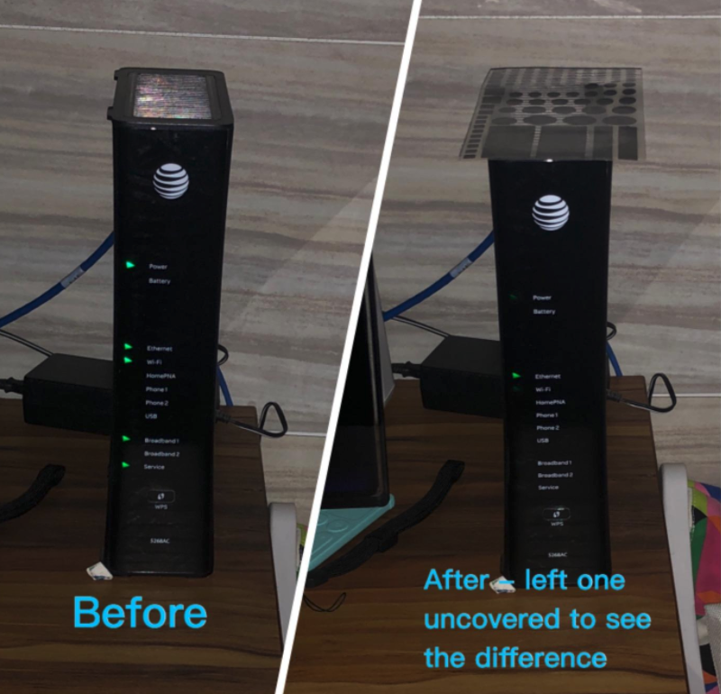 before/after image showing reviewer's modem with the stickers on and significantly less light passing through