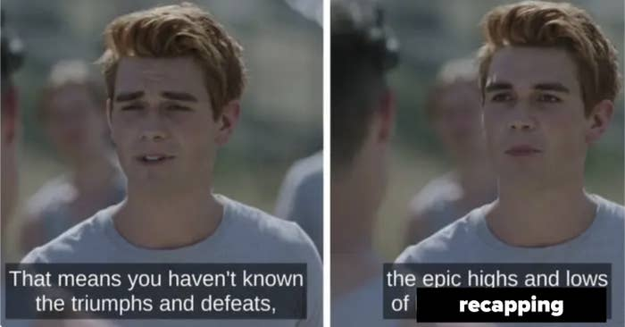 """Archie's """"epic highs and lows of football"""" speech but about recapping the show"""