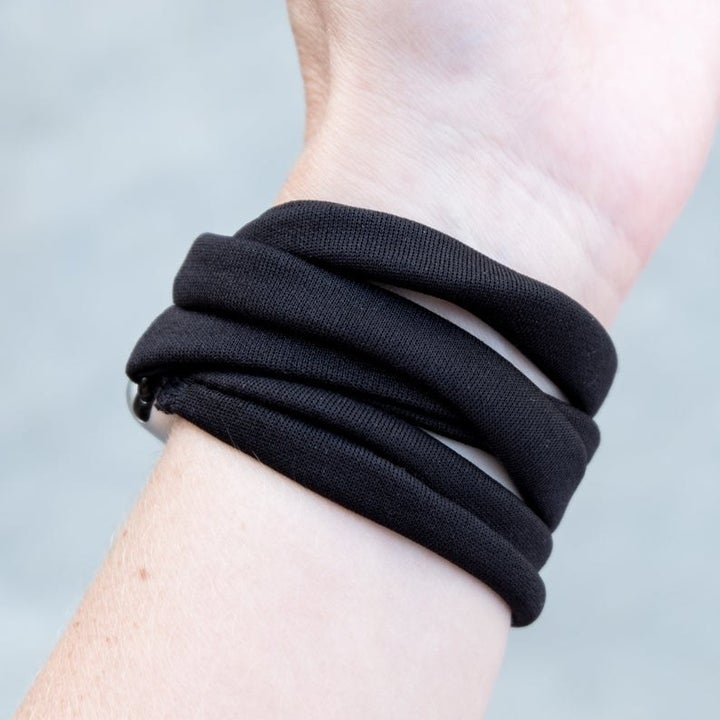 Model showing close up of bands on the wrist