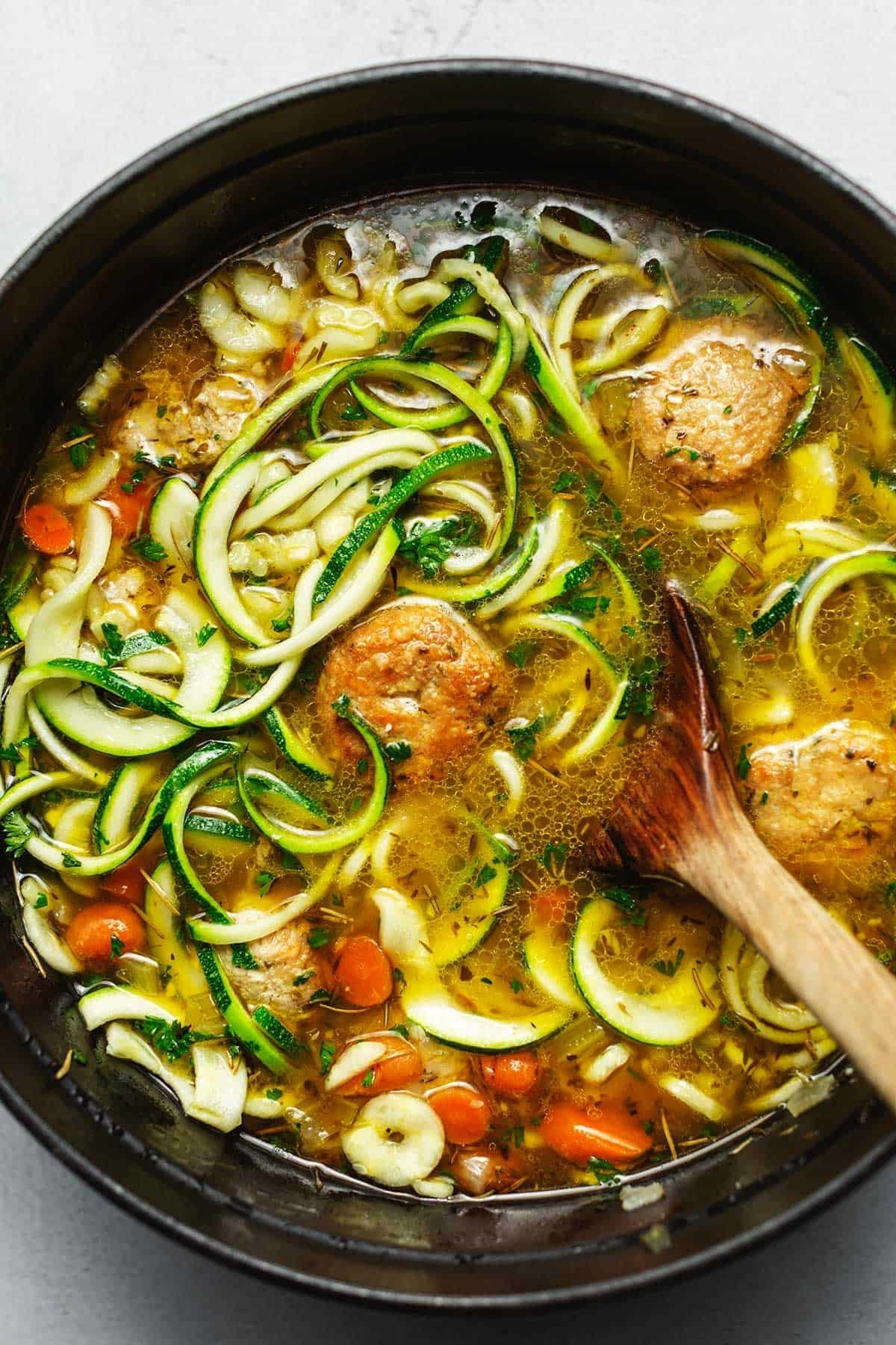 A big pot of chicken meatball and vegetable soup with zucchini noodles.