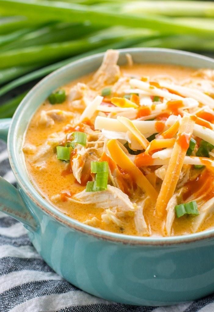 A bowl of buffalo chicken soup.