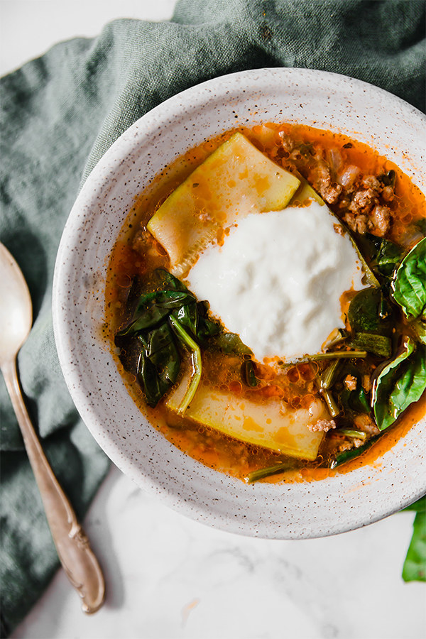 Lasagna soup with zucchini and ricotta.