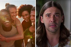 """On the left, a group of friends smiling and taking a selfie, and on the right, JVN from """"Queer Eye"""""""