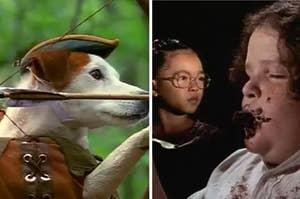 wishbone the dog and a scene from matilda