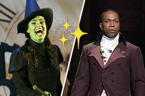 Idina Menzel as Elphaba in wicked on the left and Leslie Odom Jr in hamilton on the right