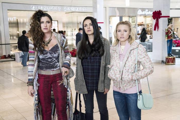 Mila Kunis, Kristen Bell, and Kathryn Hahn in A Bads Moms Christmas