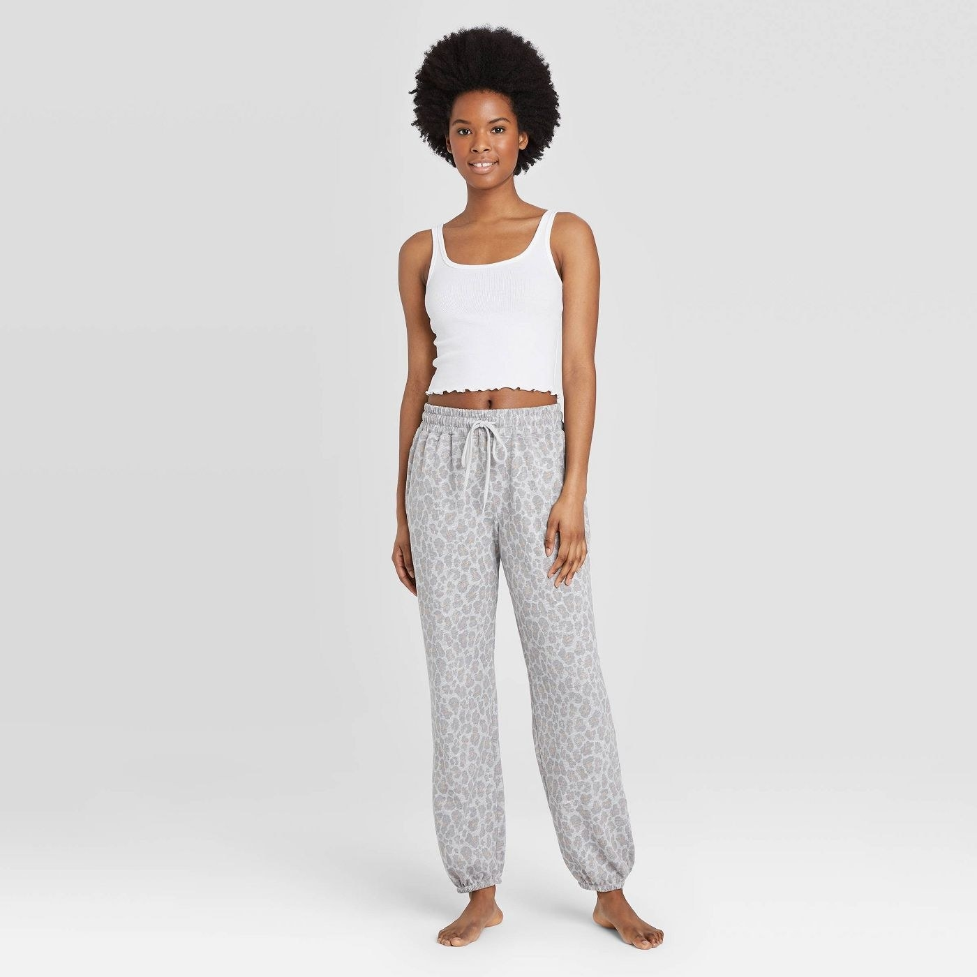 Model in  french terry leopard joggers