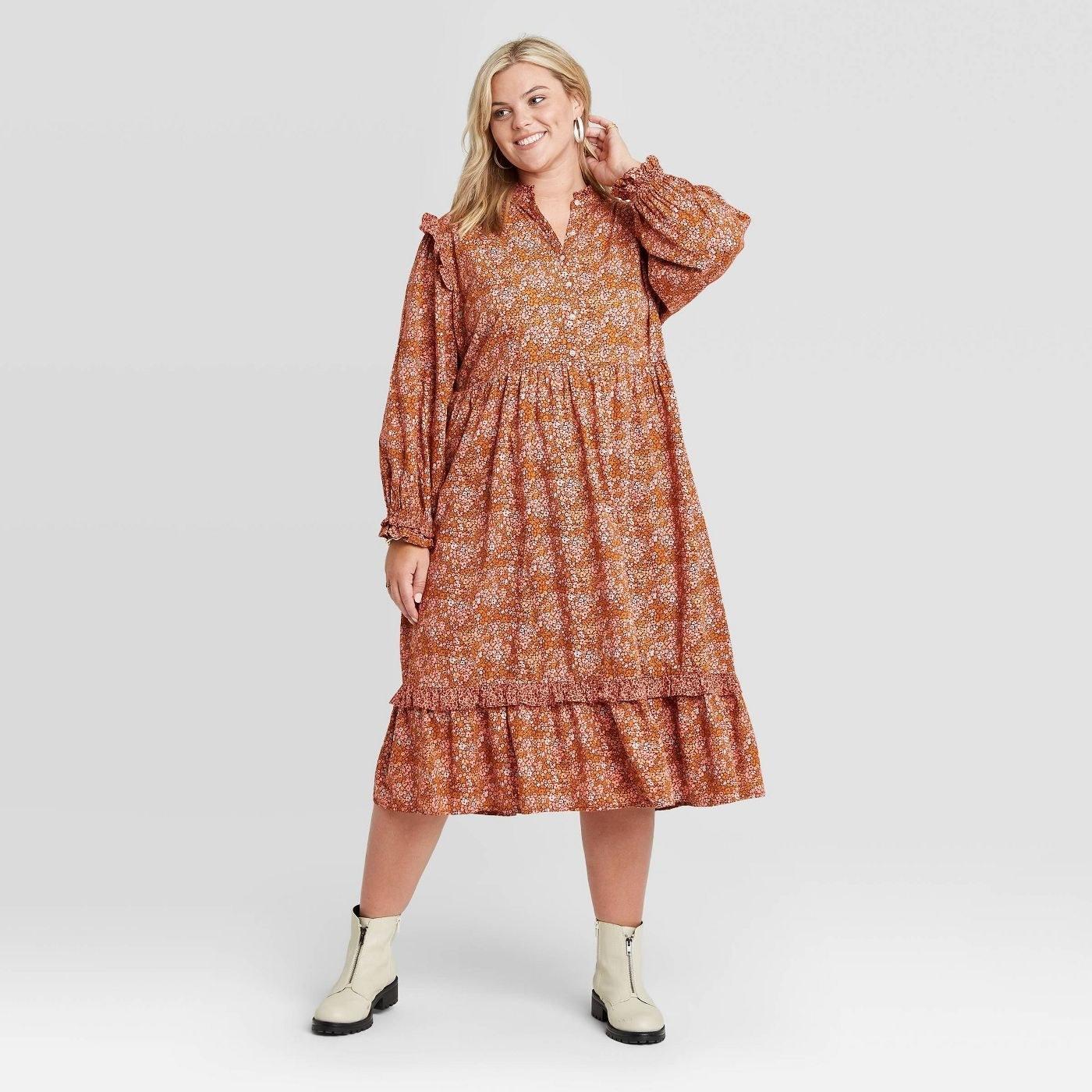 Model in balloon long sleeve ruffle dress