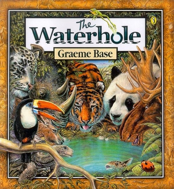 Cover shows a bunch of animals like a panda, a moose, a tortoise and a tiger all drinking from the same waterhole
