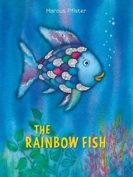 Book cover shows a fish swimming in the ocean with some of its scales sparkling like glitter while the other scales are of varying colour