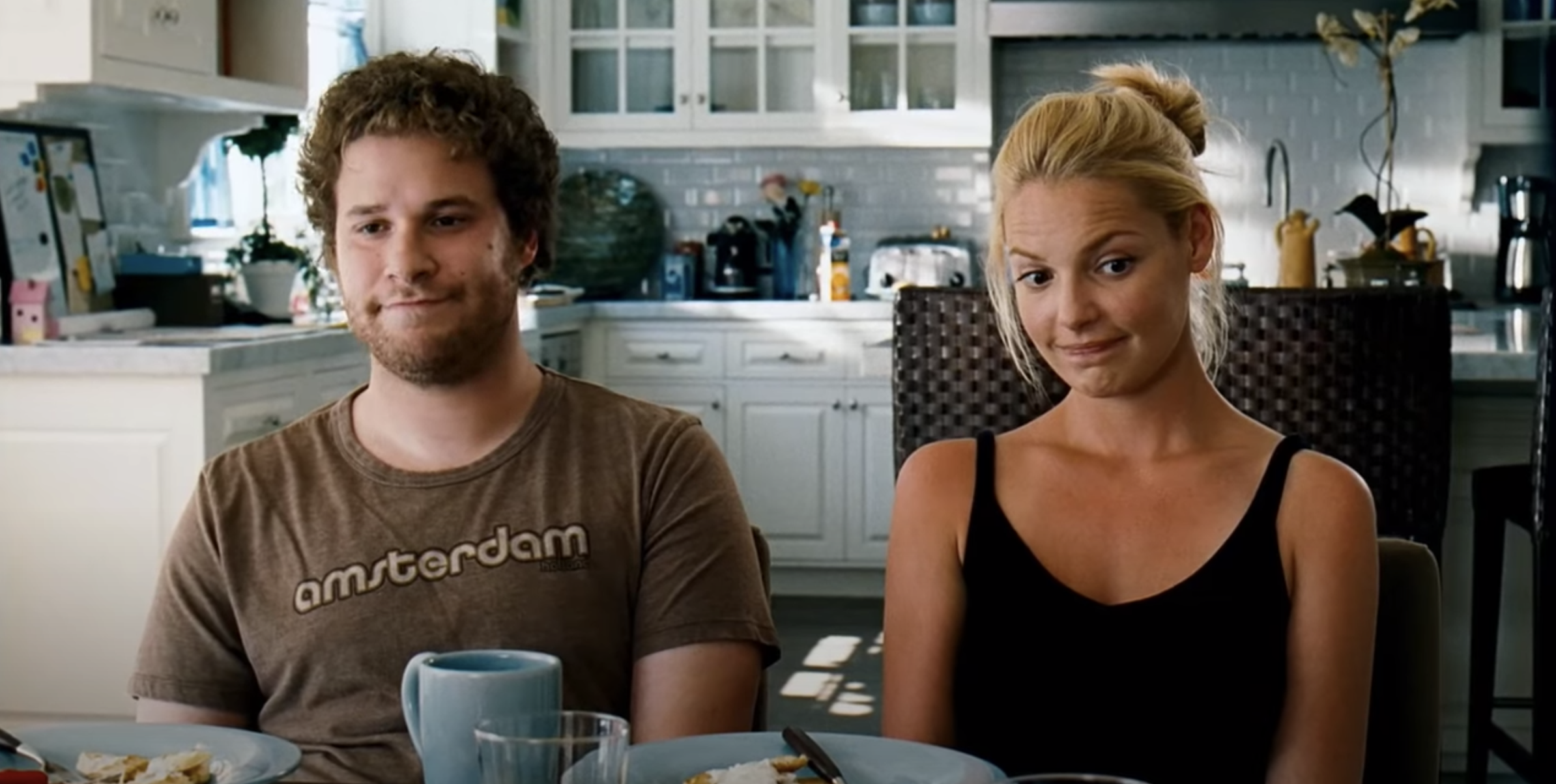 Seth Rogen and Katherine Heigl eating breakfast in Knocked Up