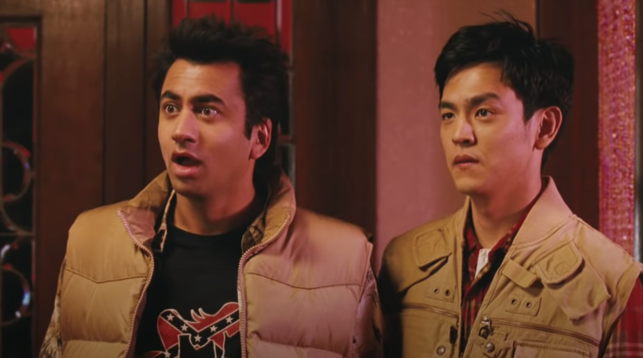 Harold and Kumar arrive at someone's house