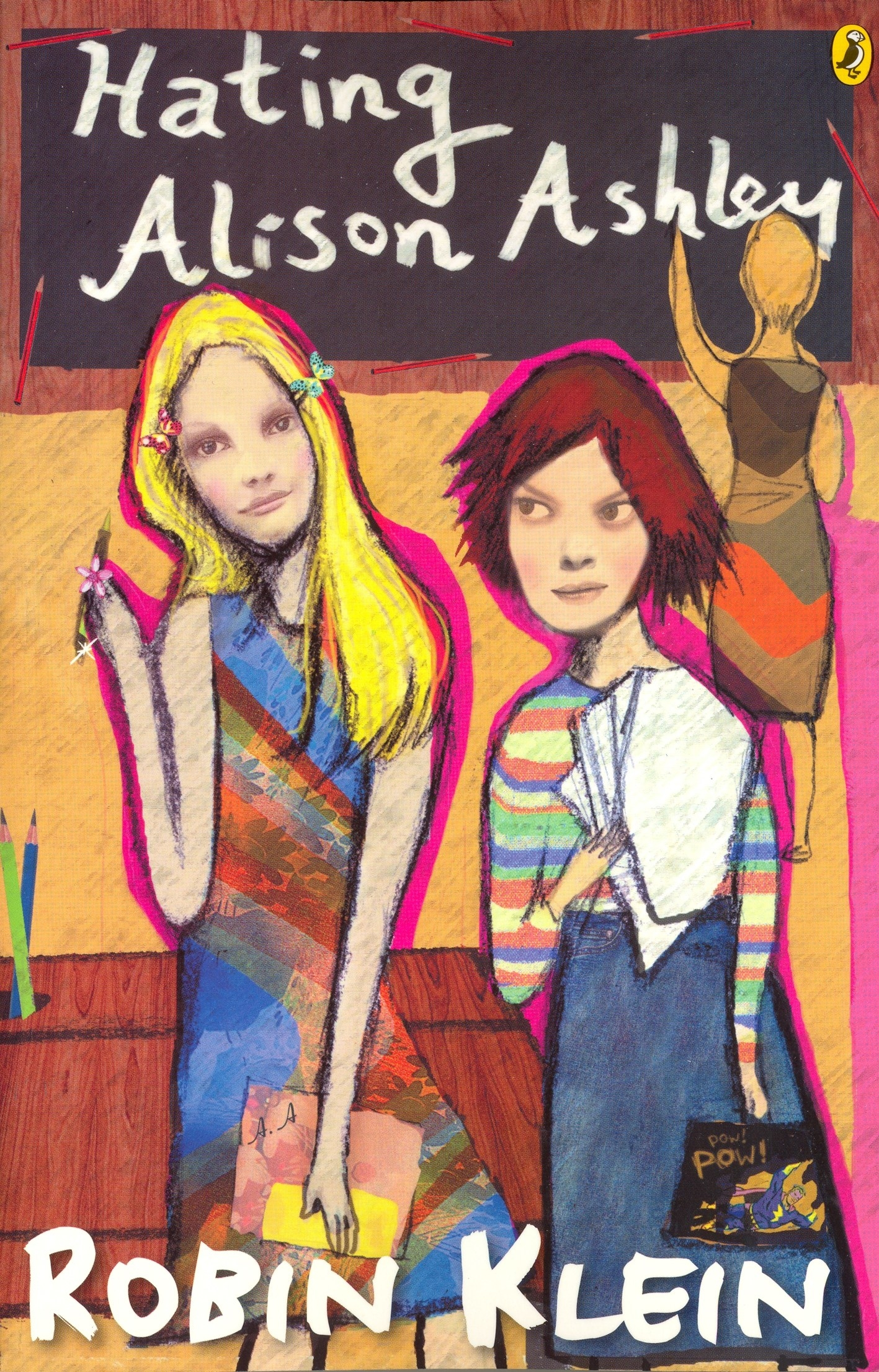 A collage like front-cover showing two girls and a teacher in the background writing on a chalk board