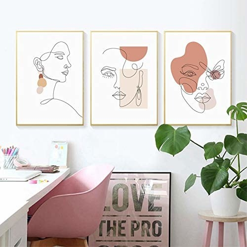 Three line art prints of a female figure on a white background with splashes of different shade of beige.