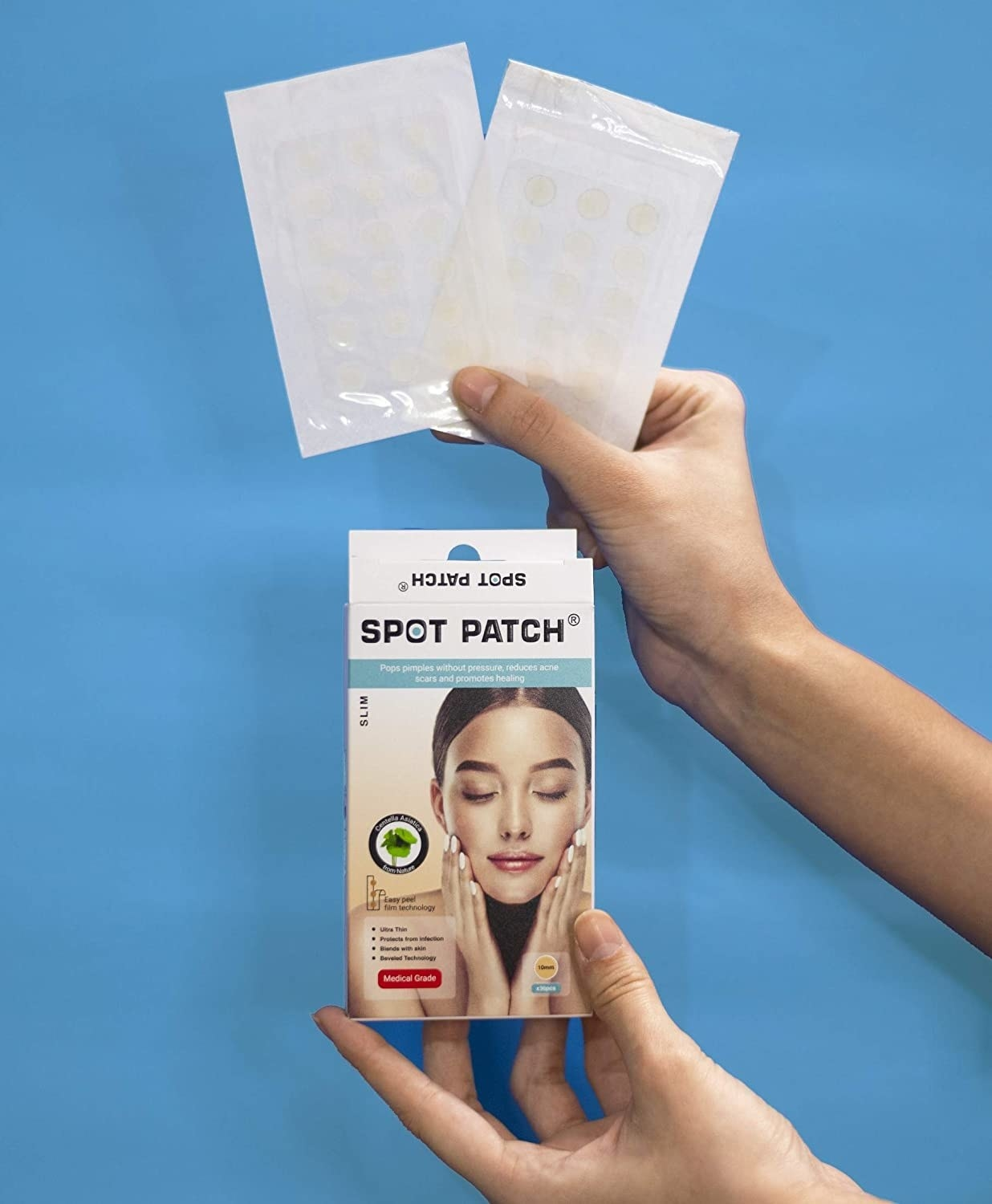 Outbox and two sheets of pimple patches.