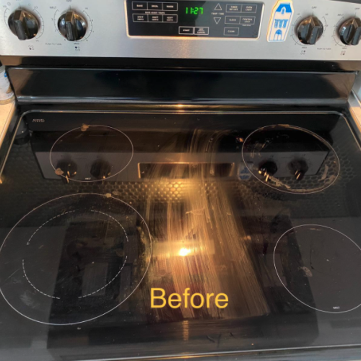 reviewer photo showing streaks across their electric stovetop