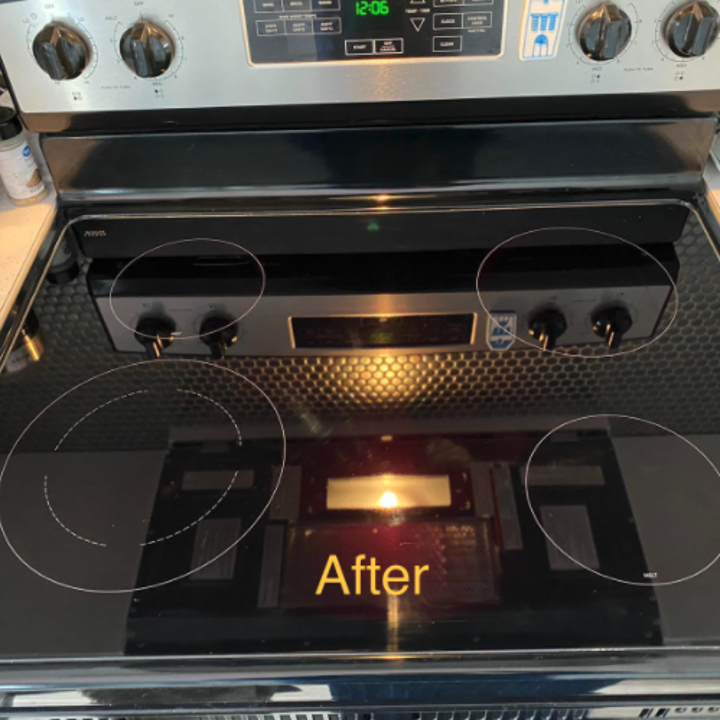 same reviewer showing streaks completely gone after using stovetop cleaner