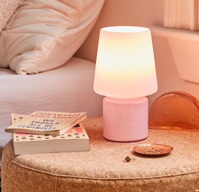 The lavender lamp which has a glass shade