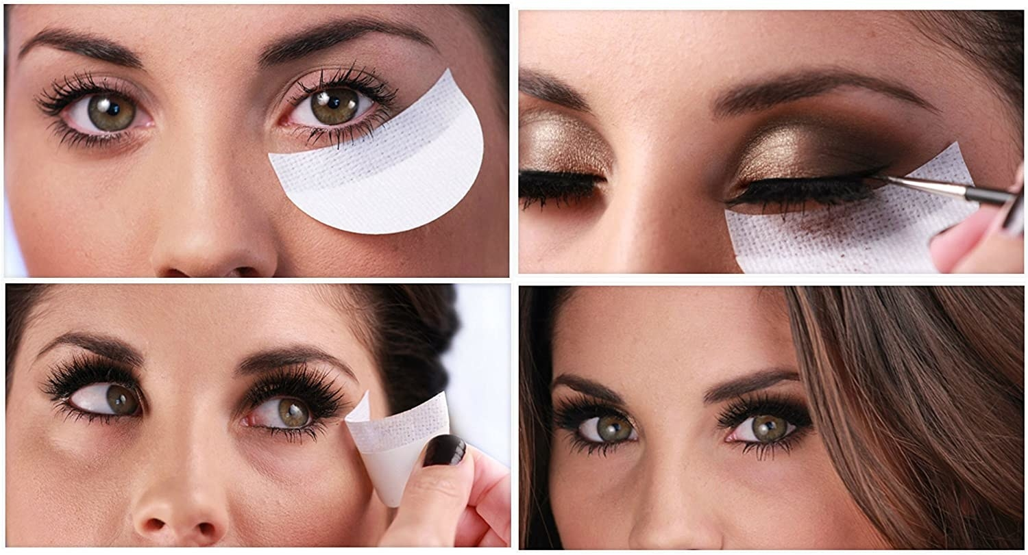 Model showing how to use shadow shields on the under-eye area