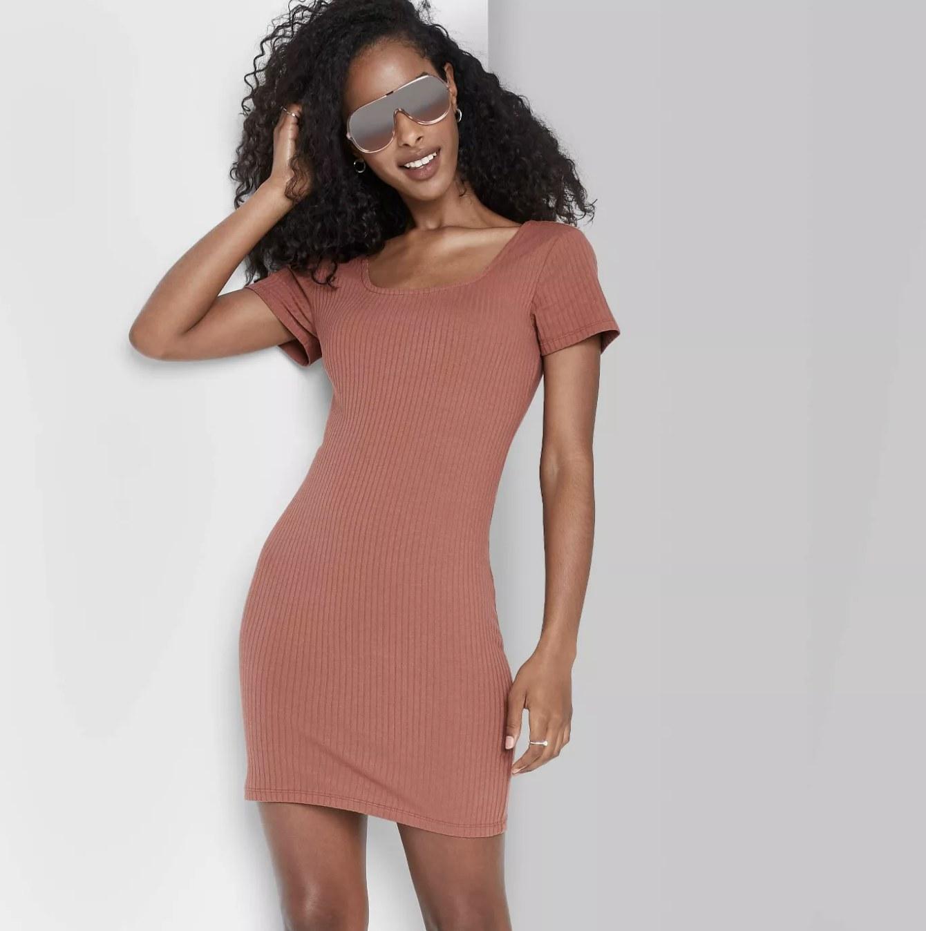 Model is wearing a blush pink short-sleeve knit dress