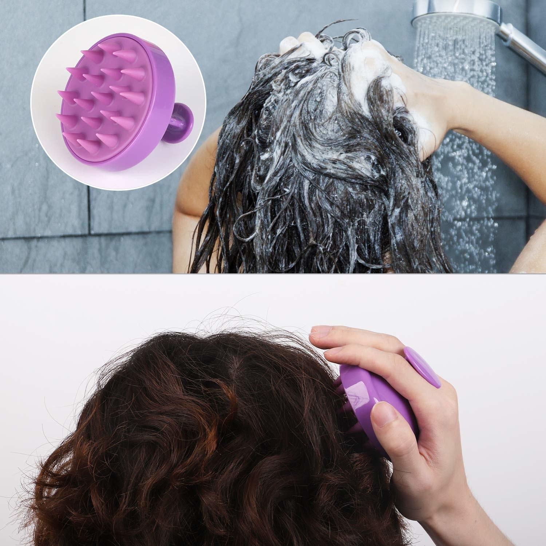 Model using massaging scalp brush