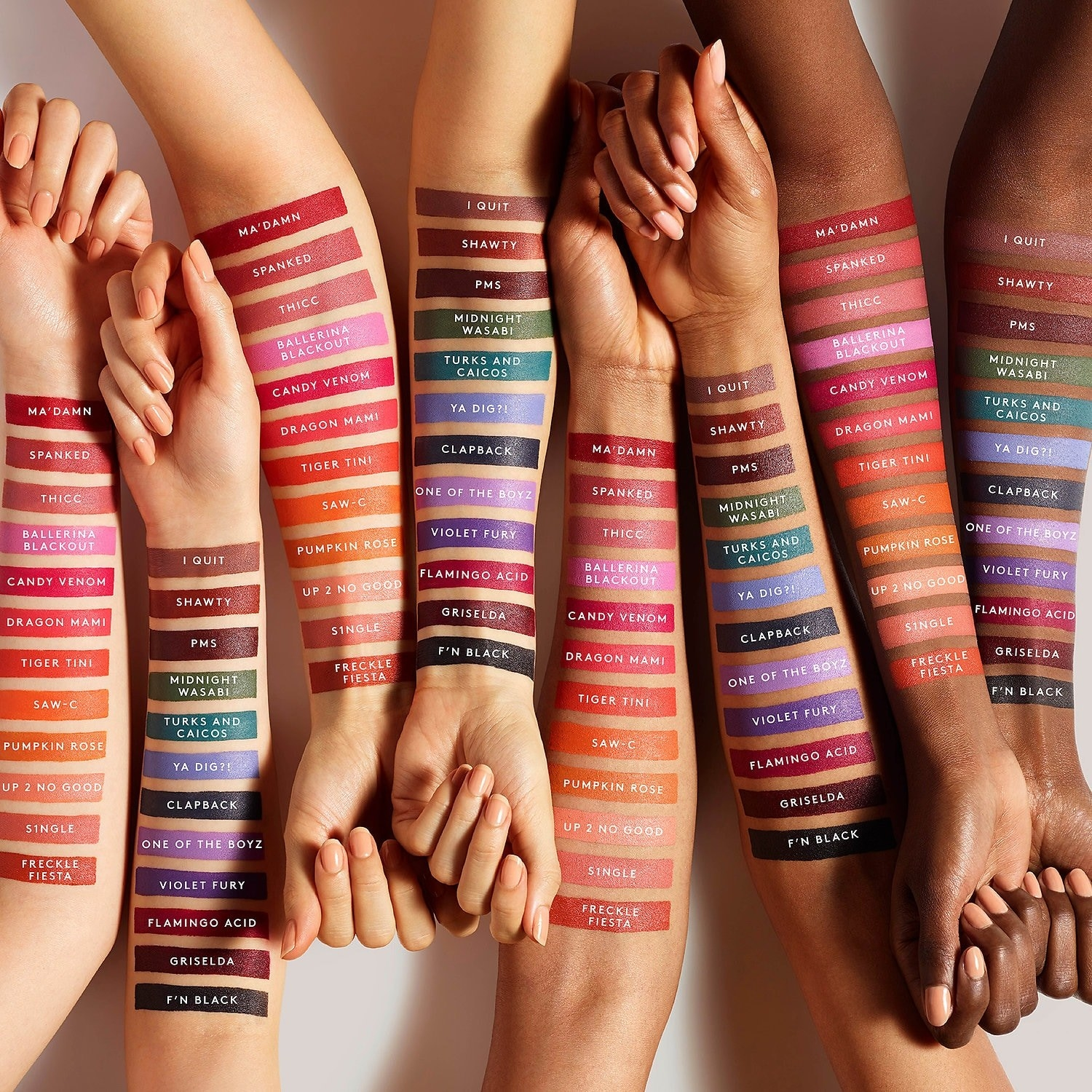 Lipstick swatches in different colors on arms with different skin tones