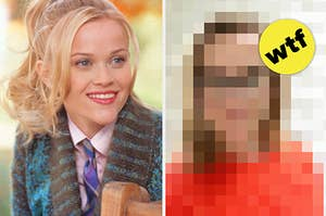 Reese Witherspoon as Elle Woods next to a blurred out photo from today