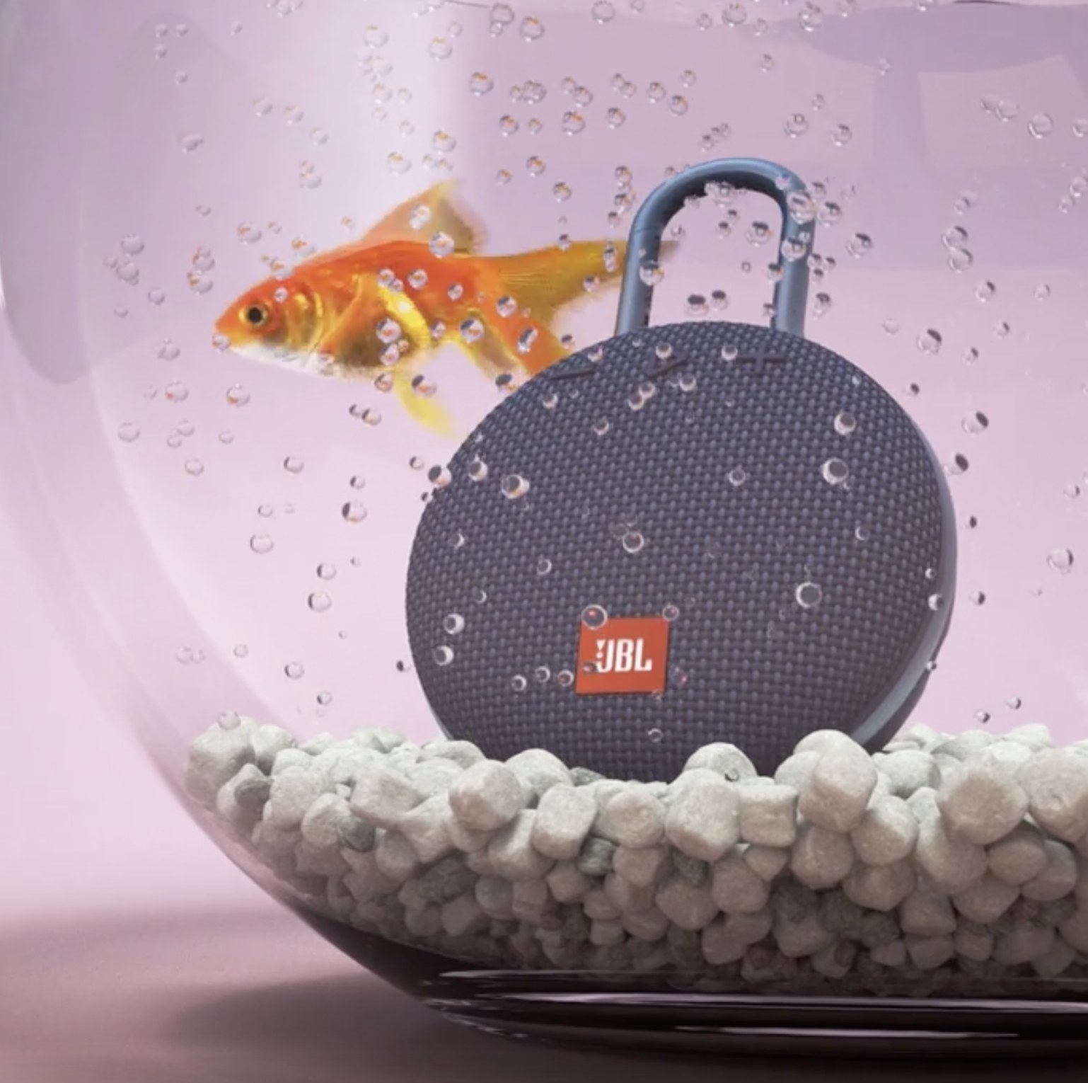 The speaker in a fish bowl