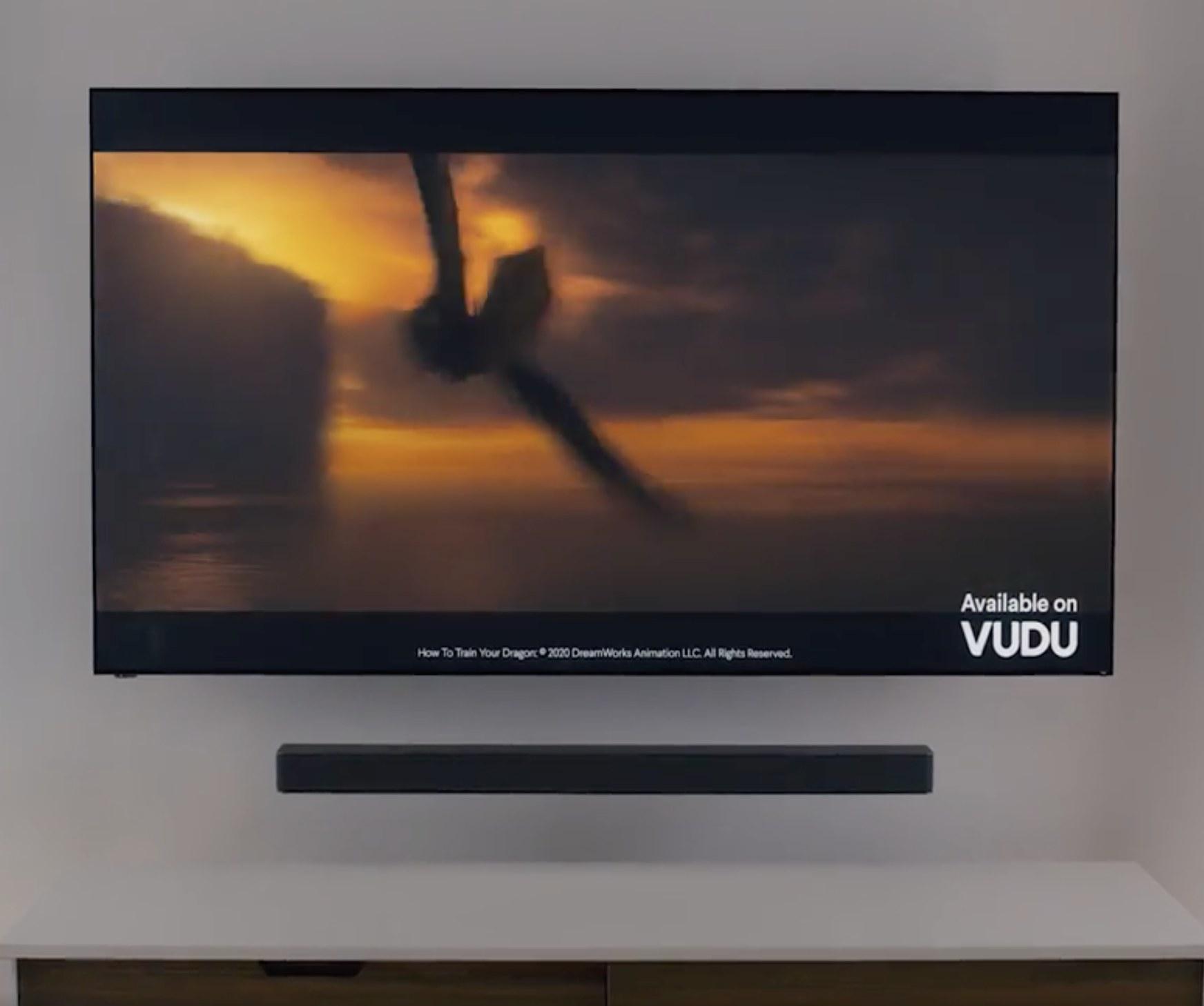 The soundbar under a mounted TV