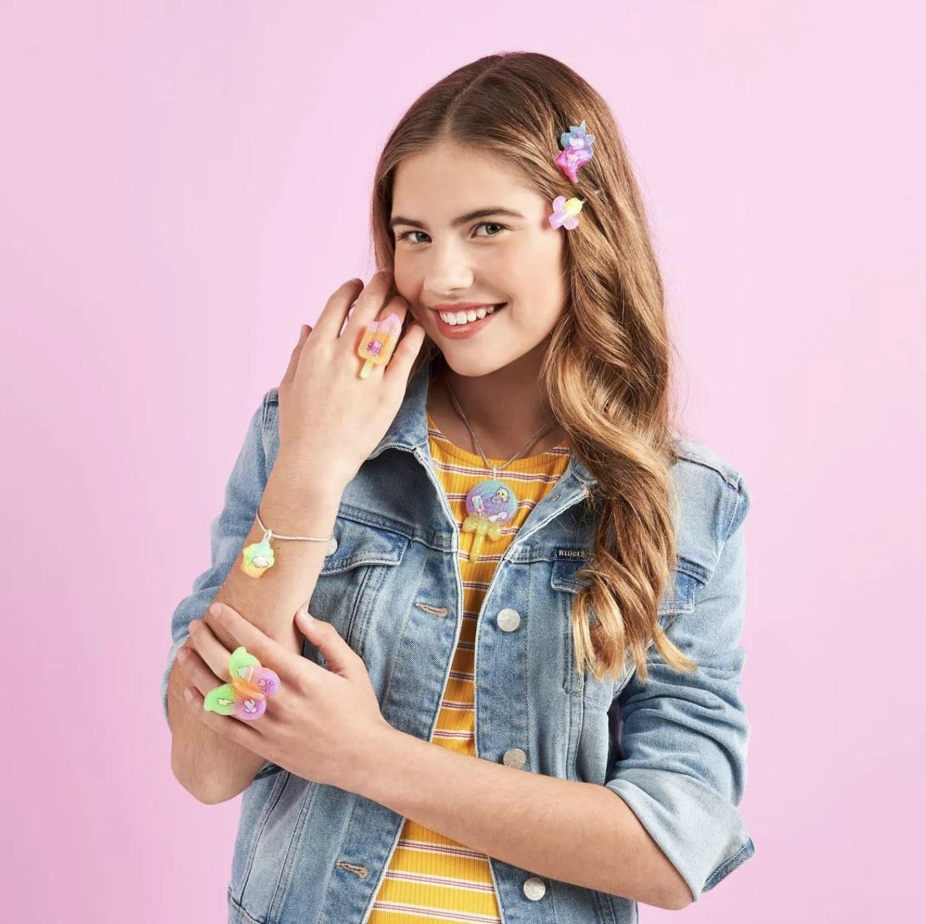 Model is wearing jelly jewelry