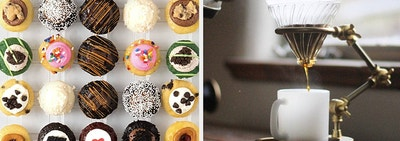 Two panels showing a grid of mini cupcakes and a pourover coffee stand dripping coffee into a mug