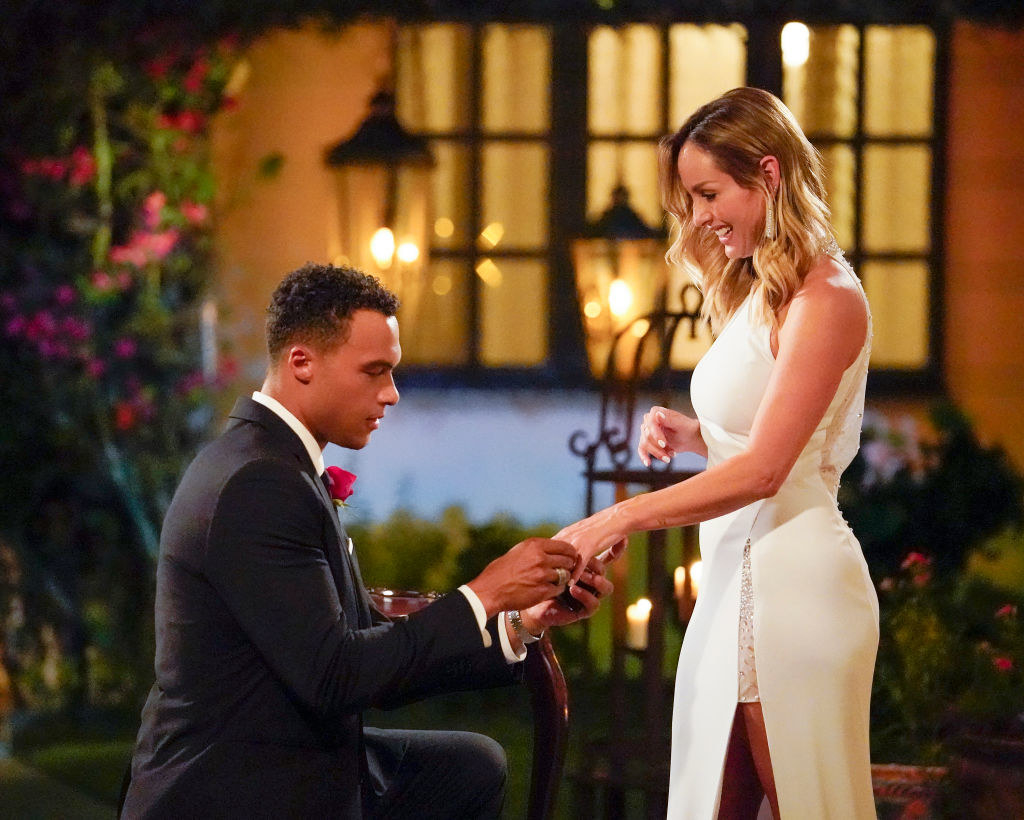 Dale on one knee proposing to Clare on The Bachelorette